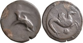 CALABRIA. Tarentum. Circa 500-490 BC. Stater (Silver, 22 mm, 7.47 g, 1 h). [TAPAΣ] Youthful oikist, nude, riding dolphin to right, his left arm oustre...