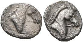 CALABRIA. Tarentum. Circa 325-280 BC. Obol (Silver, 9 mm, 0.52 g, 12 h). Head of a horse to right. Rev. Head of a horse to right; in field to right, u...