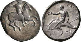 CALABRIA. Tarentum. Circa 320-315 BC. Didrachm or Nomos (Silver, 23 mm, 8.03 g, 7 h). Nude rider on horse galloping to right, holding whip in his righ...
