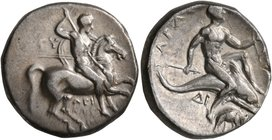 CALABRIA. Tarentum. Circa 280-272 BC. Didrachm or Nomos (Silver, 19 mm, 6.50 g, 7 h). Nude rider on horse galloping to right, stabbing with spear held...