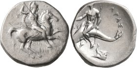 CALABRIA. Tarentum. Circa 280-272 BC. Didrachm or Nomos (Silver, 22 mm, 6.34 g, 2 h). Nude rider on horse galloping to right, stabbing with spear held...