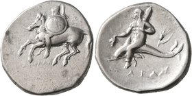 CALABRIA. Tarentum. Circa 280-272 BC. Didrachm or Nomos (Silver, 23 mm, 6.50 g, 7 h). ΞΩ - AΠOΛΛΩ Warrior on horse galloping to left, holding shield d...