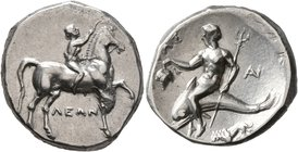 CALABRIA. Tarentum. Circa 272-240 BC. Didrachm or Nomos (Subaeratus, 21 mm, 6.55 g, 10 h), Leon... and An..., magistrates. ΛEΩN Nude youth riding hors...