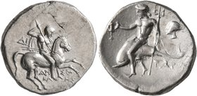 CALABRIA. Tarentum. Circa 272-240 BC. Didrachm or Nomos (Silver, 21 mm, 6.30 g, 6 h). Nude rider on horse galloping to right, stabbing with spear held...