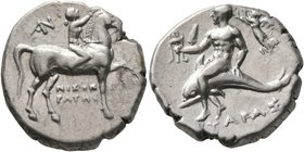 CALABRIA. Tarentum. Circa 272-240 BC. Didrachm or Nomos (Silver, 20 mm, 6.48 g, 3 h). Nude youth riding horse walking to right, raising his right hand...