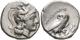 CALABRIA. Tarentum. Circa 272-240 BC. Drachm (Silver, 16 mm, 3.09 g, 1 h), Herakletos, magistrate. Head of Athena to right, wearing crested Corinthian...