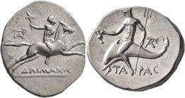 CALABRIA. Tarentum. Circa 240-228 BC. Didrachm or Nomos (Silver, 24 mm, 6.50 g, 10 h). ΔAIMAXOC Nude youth riding horse galloping to right, holding to...