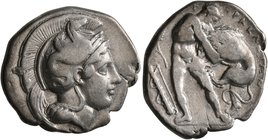 LUCANIA. Herakleia. Circa 420/15-390 BC. Didrachm or Nomos (Silver, 22 mm, 7.61 g, 3 h). Head of Athena to right, wearing crested Corinthian helmet ad...