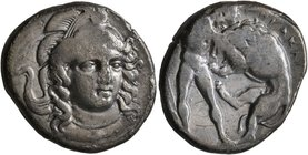 LUCANIA. Herakleia. Circa 340-330 BC. Didrachm or Nomos (Silver, 21 mm, 7.56 g, 1 h). Head of Athena, three-quarters facing and turned slightly to the...