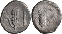 LUCANIA. Metapontion. Circa 440-430 BC. Didrachm or Nomos (Silver, 22 mm, 7.56 g, 6 h). Ear of barley with leaf to left; to right, cross-headed torch....
