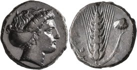 LUCANIA. Metapontion. Circa 400-340 BC. Didrachm or Nomos (Silver, 19 mm, 7.45 g, 7 h). Head of Demeter to right, her hair bound in sphendone. Rev. ME...