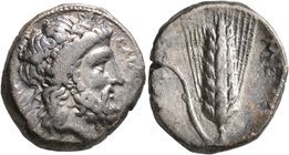 LUCANIA. Metapontion. Circa 340-330 BC. Didrachm or Nomos (Silver, 20 mm, 7.83 g, 11 h). EΛEY[ΘEPIOΣ] Laureate head of Zeus Eleutherios to right; behi...