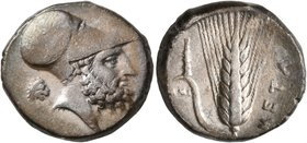 LUCANIA. Metapontion. Circa 340-330 BC. Didrachm or Nomos (Silver, 20 mm, 7.83 g, 12 h). Bearded head of Leukippos to right, wearing Corinthian helmet...