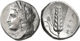 LUCANIA. Metapontion. Circa 330-290 BC. Didrachm or Nomos (Silver, 21 mm, 7.88 g, 2 h). Head of Demeter to left, wearing wreath of grain ears, triple ...