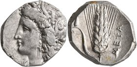 LUCANIA. Metapontion. Circa 330-290 BC. Didrachm or Nomos (Silver, 20 mm, 7.84 g, 6 h). Head of Demeter to left, wearing wreath of grain ears, triple ...