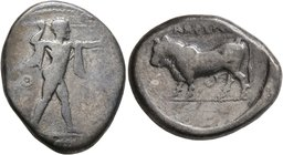 LUCANIA. Poseidonia. Circa 420-410 BC. Stater (Silver, 22 mm, 7.42 g, 3 h). [ΠΟMEΣ] Poseidon striding to right, his left arm outstretched, brandishing...