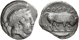 LUCANIA. Thourioi. Circa 350-300 BC. Diobol (Silver, 11 mm, 1.00 g, 2 h). Head of Athena to right, wearing crested Attic helmet. Rev. ΘΟΥΡΙΩΝ Bull wal...