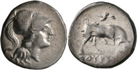LUCANIA. Thourioi. Circa 280-213 BC. Didrachm or Nomos (Silver, 21 mm, 6.58 g, 8 h). Head of Athena to right, wearing crested Corinthian helmet. Rev. ...