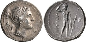 BRUTTIUM. The Brettii. Circa 216-214 BC. Drachm (Silver, 19 mm, 4.87 g, 1 h). Diademed and draped bust of Nike to right. Rev. BPETTIΩN River god Aisar...