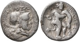 BRUTTIUM. Kroton. Circa 300-250 BC. Triobol (Silver, 12 mm, 1.08 g, 1 h). KPOTΩ Head of Athena to right, wearing crested Corinthian helmet. Rev. OIKIΣ...