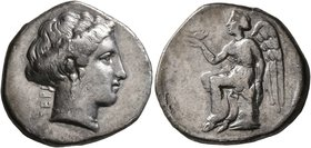 BRUTTIUM. Terina. Circa 350-300 BC. Didrachm or Nomos (Silver, 21 mm, 7.66 g, 1 h). TEPI Head of the nymph Terina to right, wearing single-pendant ear...