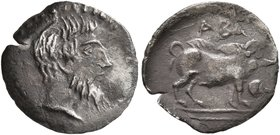SICILY. Abakainon. Circa 420-410 BC. Litra (Silver, 12 mm, 0.62 g, 6 h). Bearded male head to right. Rev. ABA Boar standing right; before, acorn. Bert...