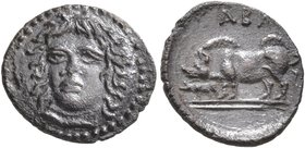 SICILY. Abakainon. Circa 410-390 BC. Litra (Silver, 11 mm, 0.76 g, 10 h). Female head facing slightly to left. Rev. ABA Sow and piglet standing left. ...