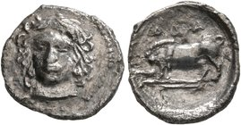 SICILY. Abakainon. Circa 410-390 BC. Litra (Silver, 11 mm, 0.61 g, 2 h). Female head facing slightly to left. Rev. ABA Sow and piglet standing left. B...