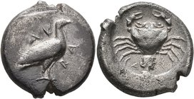 SICILY. Akragas. Circa 480/478-470 BC. Didrachm (Silver, 20 mm, 8.37 g, 7 h). AK-RA Eagle standing right with closed wings. Rev. CA-Σ Crab; below, mal...
