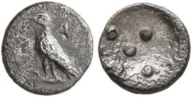 SICILY. Akragas. Circa 460s-440s BC. Pentonkion (Silver, 6 mm, 0.23 g). AK-RA Eagle standing left with closed wings. Rev. Five pellets (mark of value)...