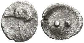 SICILY. Akragas. Circa 460s-440s BC. Hexas - Dionkion (Silver, 5 mm, 0.06 g). Head of an eagle to left; before, A. Rev. •• (value mark) within shallow...
