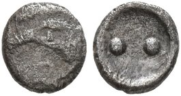 SICILY. Akragas. Circa 460s-440s BC. Hexas - Dionkion (Silver, 4 mm, 0.10 g). Head of an eagle to left; before, A. Rev. •• (value mark) within shallow...