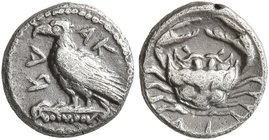 SICILY. Akragas. Circa 450-440 BC. Litra (Silver, 8 mm, 0.63 g, 12 h). AK- RA Eagle standing left on Ionic capital. Rev. ΛI Crab. HGC 2, 121. SNG ANS ...