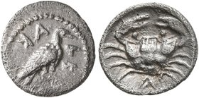 SICILY. Akragas. Circa 450-440 BC. Litra (Silver, 10 mm, 0.49 g, 5 h). AK-AR Eagle standing right with closed wings. Rev. ΛIT Crab. HGC 2, -. Westerma...