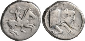 SICILY. Gela. Circa 490/85-480/75 BC. Didrachm (Silver, 21 mm, 8.09 g, 2 h). Bearded warrior, nude, riding horse to right, brandishing spear in his up...