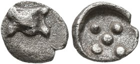 SICILY. Himera. 483/2-472 BC. Pentonkion (Silver, 6 mm, 0.18 g). Astragalos. Rev. Five pellets (mark of value) within shallow round incuse. HGC 2, -. ...