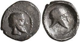 SICILY. Himera. Circa 475-450 BC. Litra (Silver, 10 mm, 0.58 g, 5 h). Bearded male head to right. Rev. Corinthian helmet to right within shallow round...
