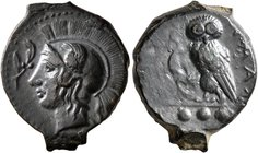 SICILY. Kamarina. Circa 420-405 BC. Tetras or Trionkion (Bronze, 18 mm, 3.83 g, 12 h). Head of Athena to left, wearing crested Attic helmet; before, o...