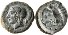 SICILY. Kamarina. Circa 420-405 BC. Tetras or Trionkion (Bronze, 15 mm, 3.31 g, 3 h). Head of Athena to left, wearing crested Attic helmet; before, ol...