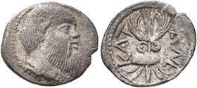 SICILY. Katane. Circa 461-450 BC. Litra (Silver, 13 mm, 0.68 g, 7 h). Head of Silenos to right, wearing wreath of ivy and an animal ear. Rev. KAT-ANE ...