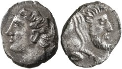 SICILY. Panormos (as Ziz). Circa 405-380 BC. Litra (Silver, 10 mm, 0.63 g, 12 h). Horned head of a river god to left. Rev. Forepart of a bearded man-h...