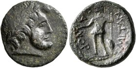 SICILY. Panormos. after 200 BC. AE (Bronze, 16 mm, 3.84 g, 1 h). Laureate head of Zeus to right. Rev. ΠANOPMITAN Warrior standing front, head to left,...