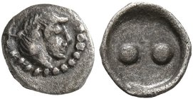 SICILY. Syracuse. Deinomenid Tyranny, 485-466 BC. Hexas - Dionkion (Silver, 6 mm, 0.10 g), circa 480-470. Head of Arethusa to right, wearing pearl dia...