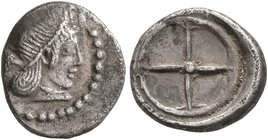 SICILY. Syracuse. Deinomenid Tyranny, 485-466 BC. Obol (Silver, 10 mm, 0.70 g), circa 475-470. Diademed head of Arethusa to right, wearing single-pend...