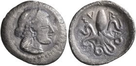 SICILY. Syracuse. Deinomenid Tyranny, 485-466 BC. Litra (Silver, 13 mm, 0.66 g, 12 h). Head of Arethusa to right, wearing pearl diadem and necklace, h...