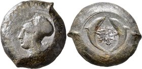 SICILY. Syracuse. Dionysios I, 405-367 BC. Drachm (Bronze, 32 mm, 34.00 g, 2 h). ΣYPA Head of Athena to left, wearing laureate Corinthian helmet. Rev....