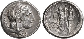 SICILY. Syracuse. Agathokles, 317-289 BC. Tetradrachm (Silver, 27 mm, 17.33 g, 1 h), circa 310-306/5. KOPAΣ Head of Kore to right, wearing wreath of g...