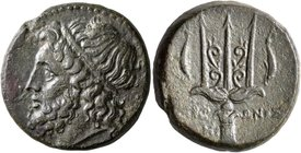 SICILY. Syracuse. Hieron II, 275-215 BC. AE (Bronze, 21 mm, 9.46 g, 6 h). Diademed head of Poseidon to left. Rev. IEP-ΩNOΣ Ornate trident head flanked...