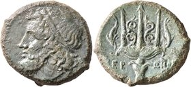 SICILY. Syracuse. Hieron II, 275-215 BC. AE (Bronze, 23 mm, 9.66 g, 12 h). Diademed head of Poseidon to left. Rev. IEP-ΩNOΣ Ornate trident head flanke...