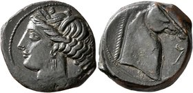 CARTHAGE. Circa 300-264 BC. Shekel (?) (Bronze, 18 mm, 6.34 g, 7 h). Wreathed head of Tanit to left. Rev. Head of a horse to right; before, 𐡁. ...